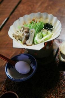 薬研温泉民宿あすなろ夕食: 味噌貝焼き