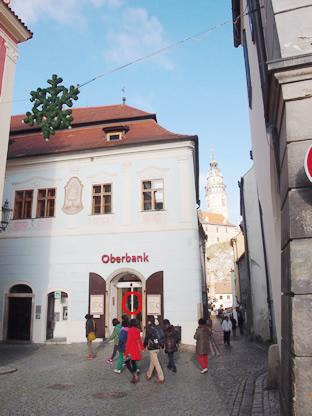 チェスキークルムロフ広場から伸びる小路