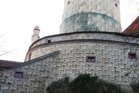 クルムロフ城の外壁だまし絵