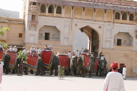 インド・ジャイプル郊外のアンベール城にて詰まる象タクシー