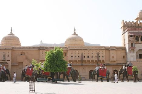 インド・ジャイプル郊外のアンベール城にて行列をつくる象タクシー